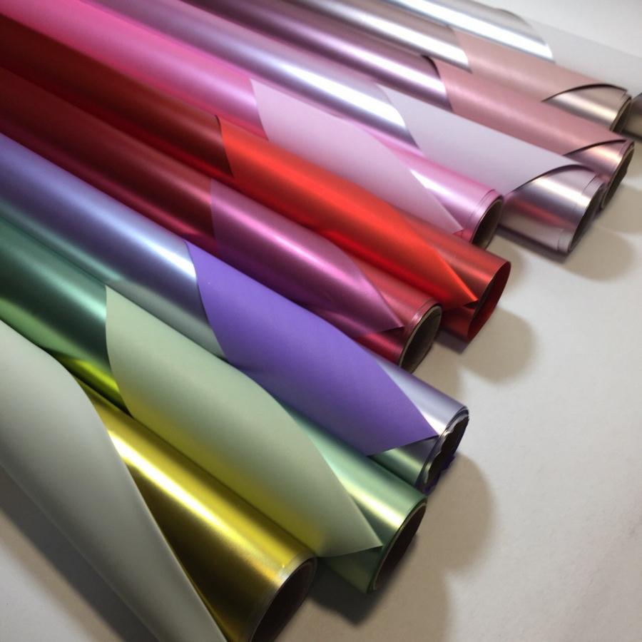 Пленка для цветов 70см \ 9м матовый металл двухсторонний