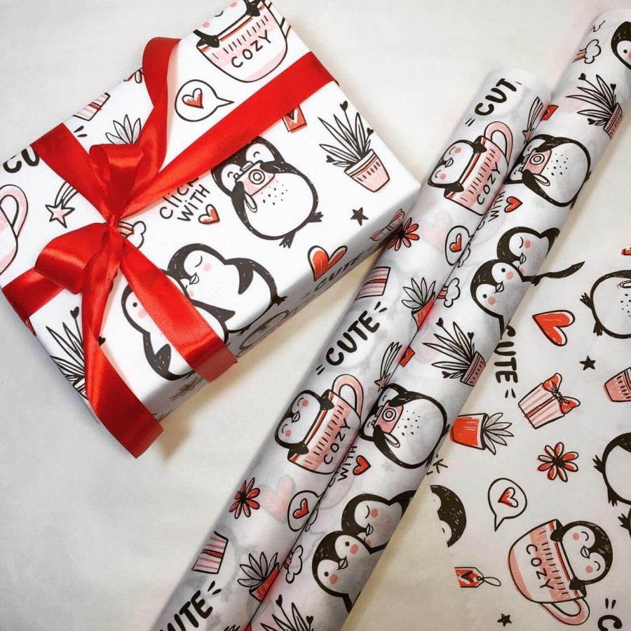 """Папір подарунковий """"Пінгвіни"""""""