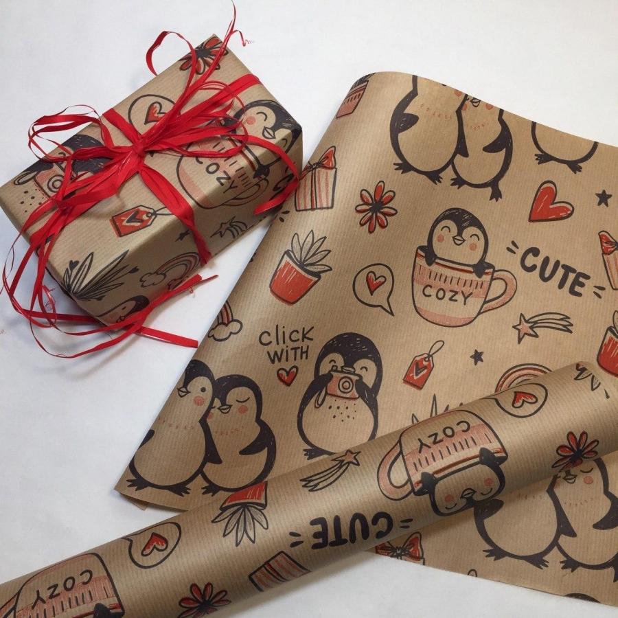 """Папір подарунковий """"Пінгвіни"""" на коричневому"""